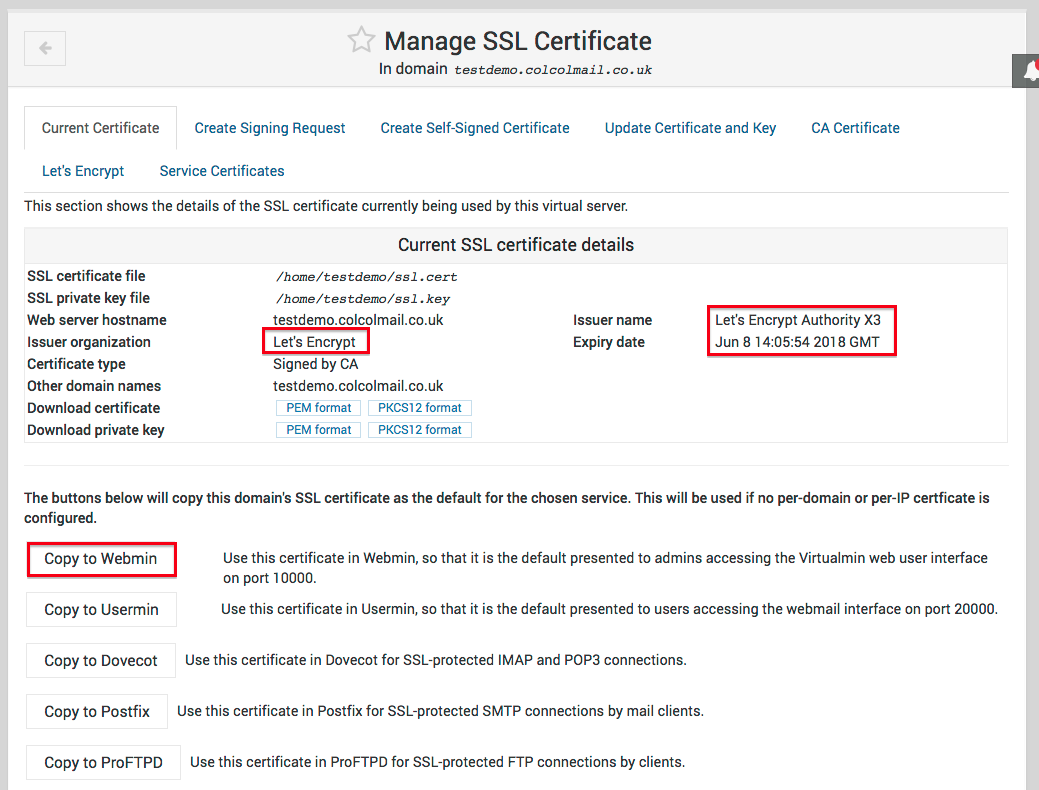 Installing An Ssl Certificate Within Virtualmin Colcol